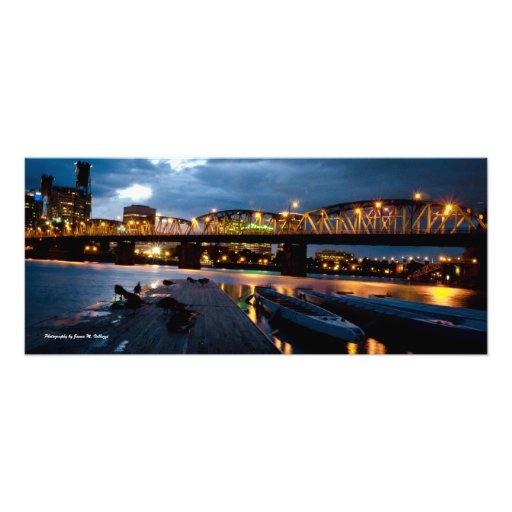 11 x 26 Hawthorne Bridge at Night Photograph