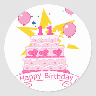 11 Year Old Birthday Cake Classic Round Sticker
