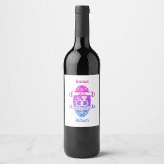 11 Year traditional Steel 11th wedding anniversary Wine Label