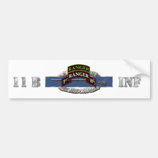 11B 75th Ranger 1st Battalion w/ Tab Bumper Sticker