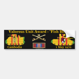 "11th ACR Valorous Unit - Cambodia ""Fish Hook"" Bumper Sticker"