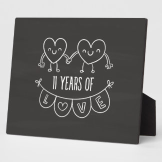11th Anniversary Gift Chalk Hearts Display Plaques