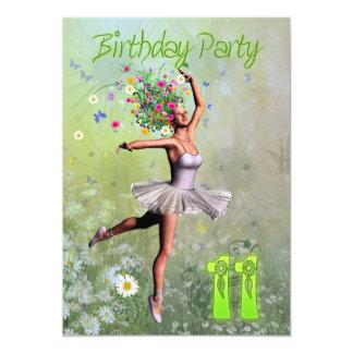"11th Birthday party invitation 5"" X 7"" Invitation Card"
