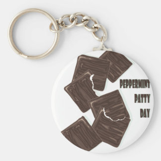 11th February - Peppermint Patty Day Basic Round Button Key Ring