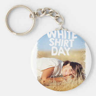 11th February - White Shirt Day Basic Round Button Key Ring