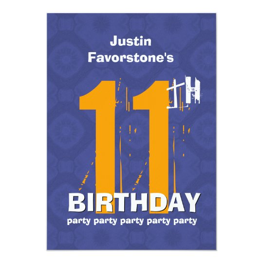 11th Modern Weathered Grunge Birthday Blue W02C Card