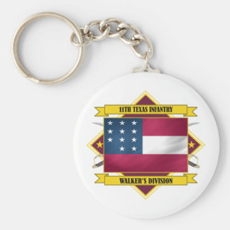 11th Texas Infantry Basic Round Button Key Ring