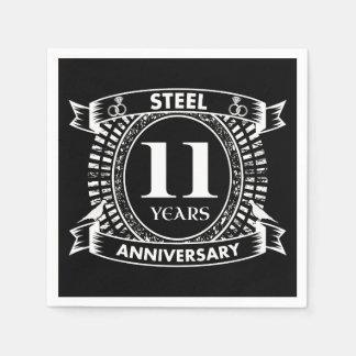 11TH wedding anniversary steel Disposable Napkin