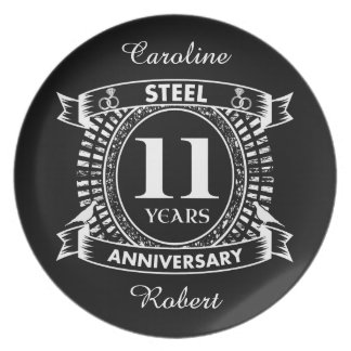 11TH wedding anniversary steel Plate