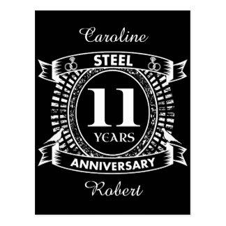 11TH wedding anniversary steel Postcard