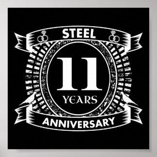 11TH wedding anniversary steel Poster