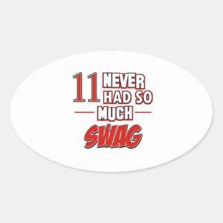 11th year birthday designs oval sticker