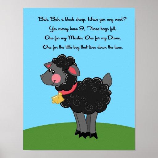 11x14 Bah Bah Black Sheep Rhyme Kids Room Wall Art Poster