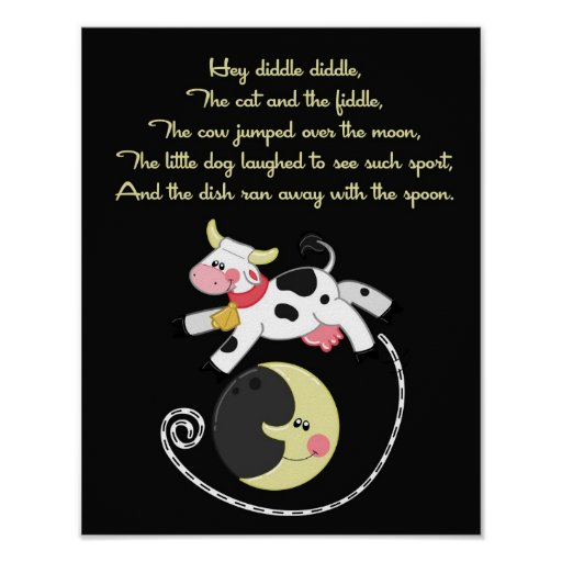 11x14 Hey Diddle Diddle Rhyme Kids Room Wall Art Print