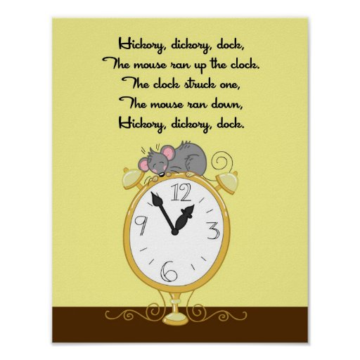11x14 Hickory Dickor Dock Rhyme Kids Room Wall Art Print