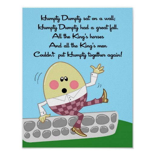 11x14 Humpty Dumpty Rhyme Kids Room Wall Art Poster