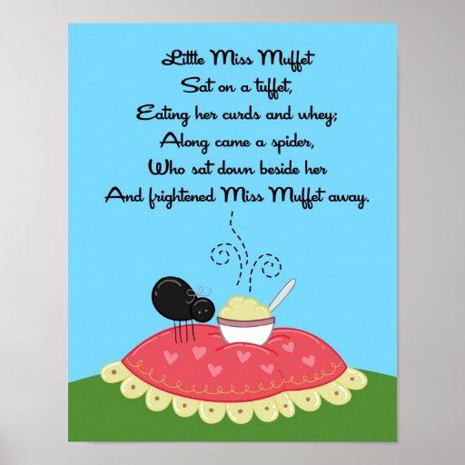 11x14 Little Miss Muffet Rhyme Kids Room Wall Art Print