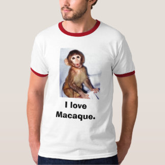 120_graphic_15macaque_infant, I love Macaque. T Shirt