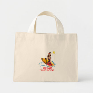 1223627370, GIRL'S JUST WANNA HAVE FUN TOTE BAGS