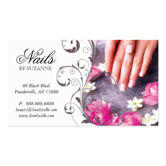 122 Nail Salon Business Card Pink Taupe