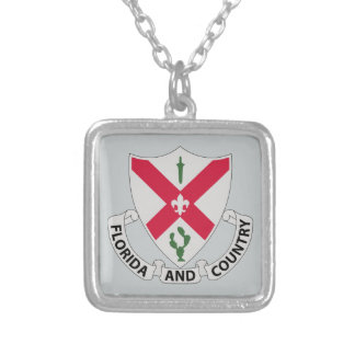 124th Infantry Regiment - Florida and Country Silver Plated Necklace