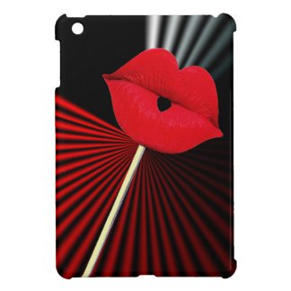 1253 BLACK RED WHITE MOUTH KISS LIPS GRAPHIC BACKG CASE FOR THE iPad MINI