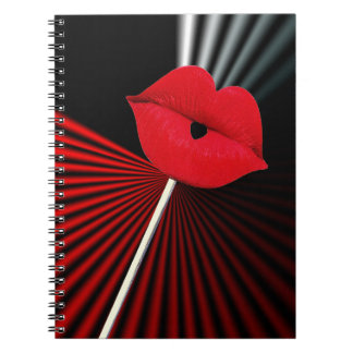 1253 BLACK RED WHITE MOUTH KISS LIPS GRAPHIC BACKG NOTEBOOKS