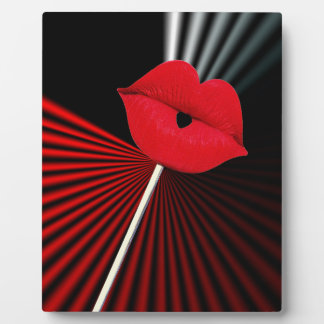 1253 BLACK RED WHITE MOUTH KISS LIPS GRAPHIC BACKG PHOTO PLAQUE