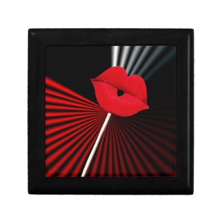 1253 BLACK RED WHITE MOUTH KISS LIPS GRAPHIC BACKG SMALL SQUARE GIFT BOX