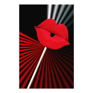 1253 BLACK RED WHITE MOUTH KISS LIPS GRAPHIC BACKG STATIONERY PAPER