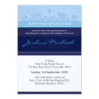 125 suzi CUSTOM BAPTISM INVITE elegant navy blue