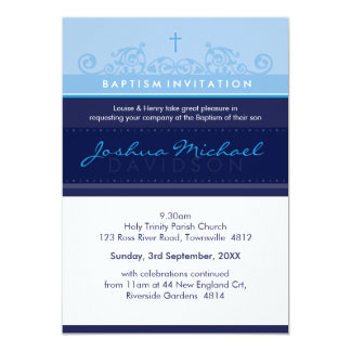 125 suzi CUSTOM BAPTISM INVITE elegant navy blue 13 Cm X 18 Cm Invitation Card