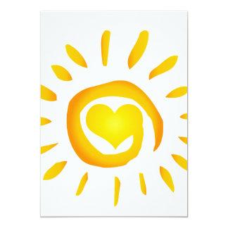 12887 BRIGHT YELLOW HEART SUNSHINE SURF SWIRL SYMB 13 CM X 18 CM INVITATION CARD