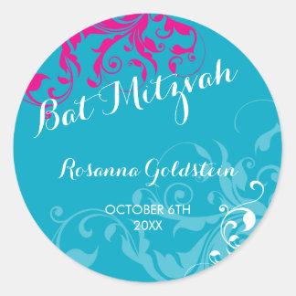 128-marnie BAT MITZVAH flourish turquoise pink Classic Round Sticker