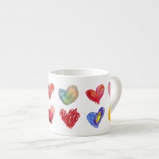 12 Artsy Love Hearts Espresso Mug