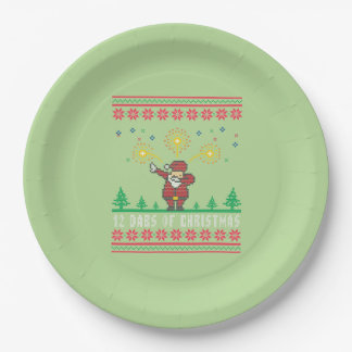 12 Dabs Of Christmas Santa Ugly Christmas Sweater Paper Plate