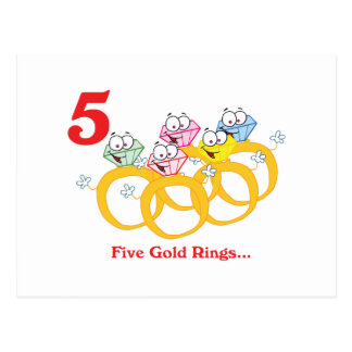 12 days five gold rings postcard
