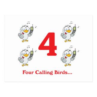 12 days four calling birds postcard