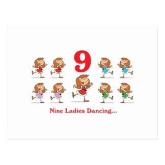 12 days nine ladies dancing postcard