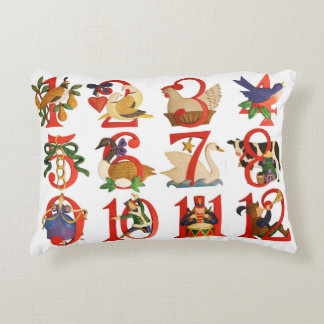 "12 Days of Christmas Accent Pillow 16"" x 12"""