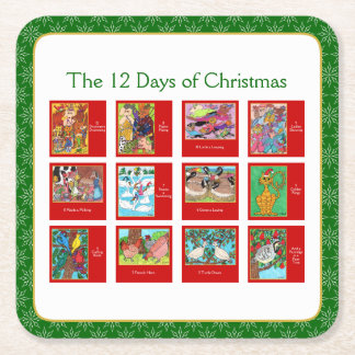 12 Days of Christmas Cute Animal Menagerie Square Paper Coaster