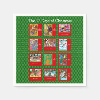 12 Days of Christmas Cute Animals Disposable Serviettes