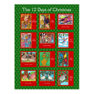 12 Days of Christmas Cute Animals Postcard