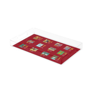 12 Days of Christmas Cute Animals & Typography Acrylic Tray