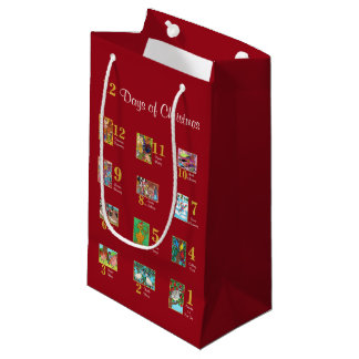 12 Days of Christmas Cute Animals & Typography Small Gift Bag