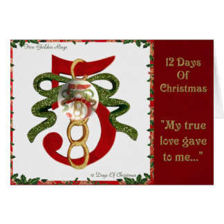 12 Days of Christmas Five Golden Rings Card
