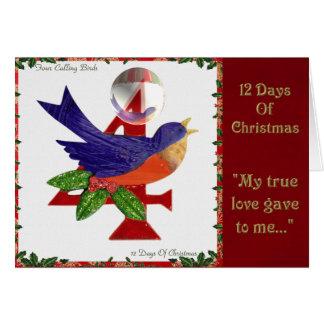12 Days of Christmas Four Calling Birds Card