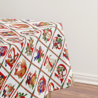12 Days of Christmas Quilt Print Tablecloth