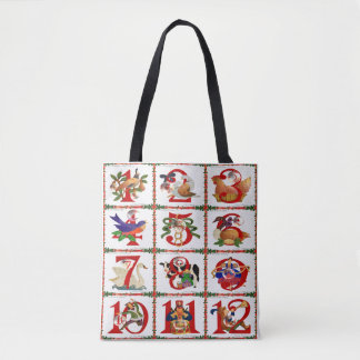 12 Days Of Christmas Quilt Print Tote Bag