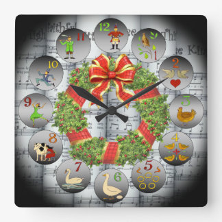 12 Days Of Christmas ~Sheet Music~Christmas Wreath Square Wall Clock